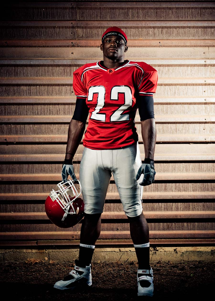 Portland editorial photographer - football player in red jersey
