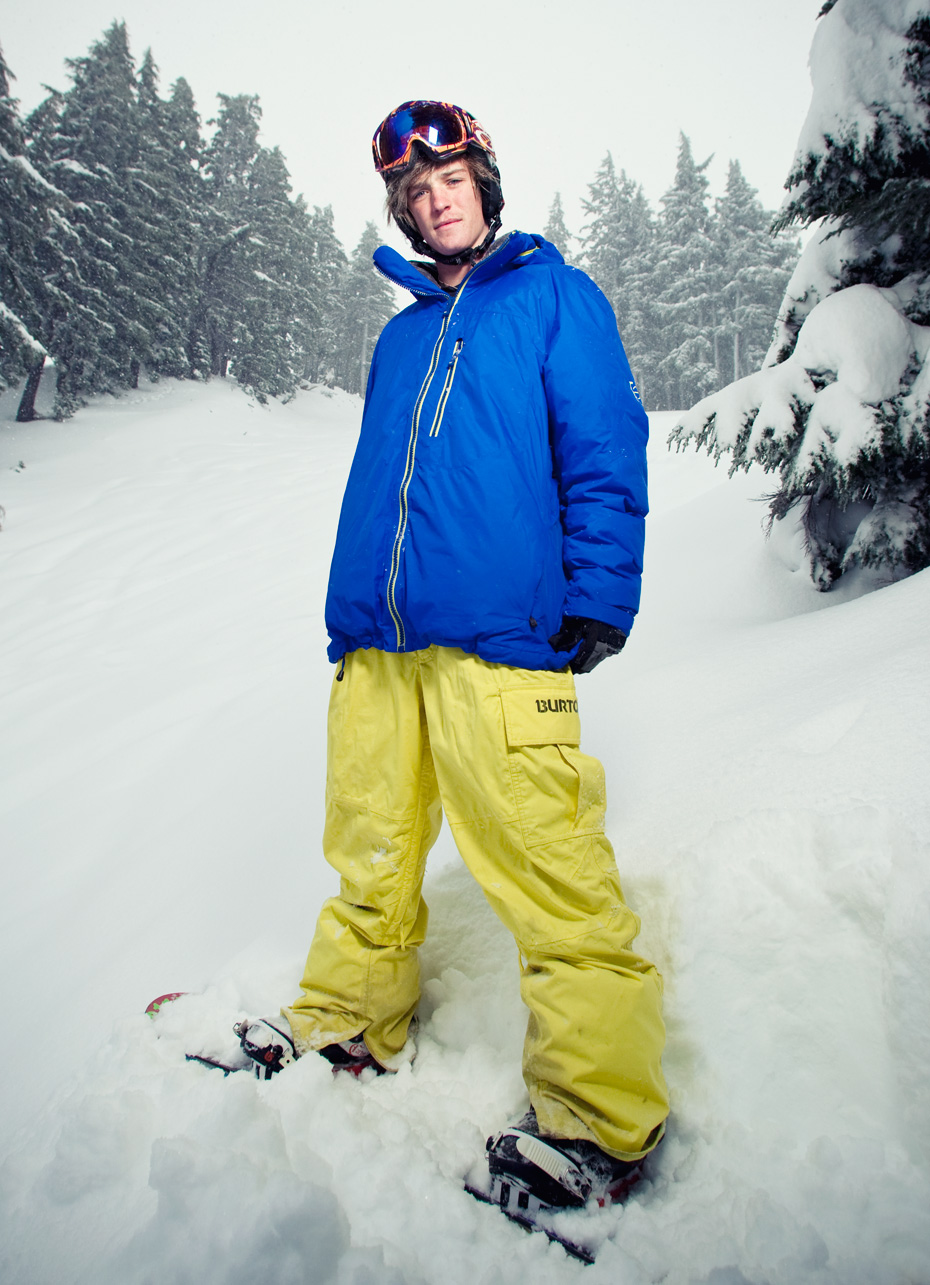 Commercial photographer Portland - professional snowboarder on slope