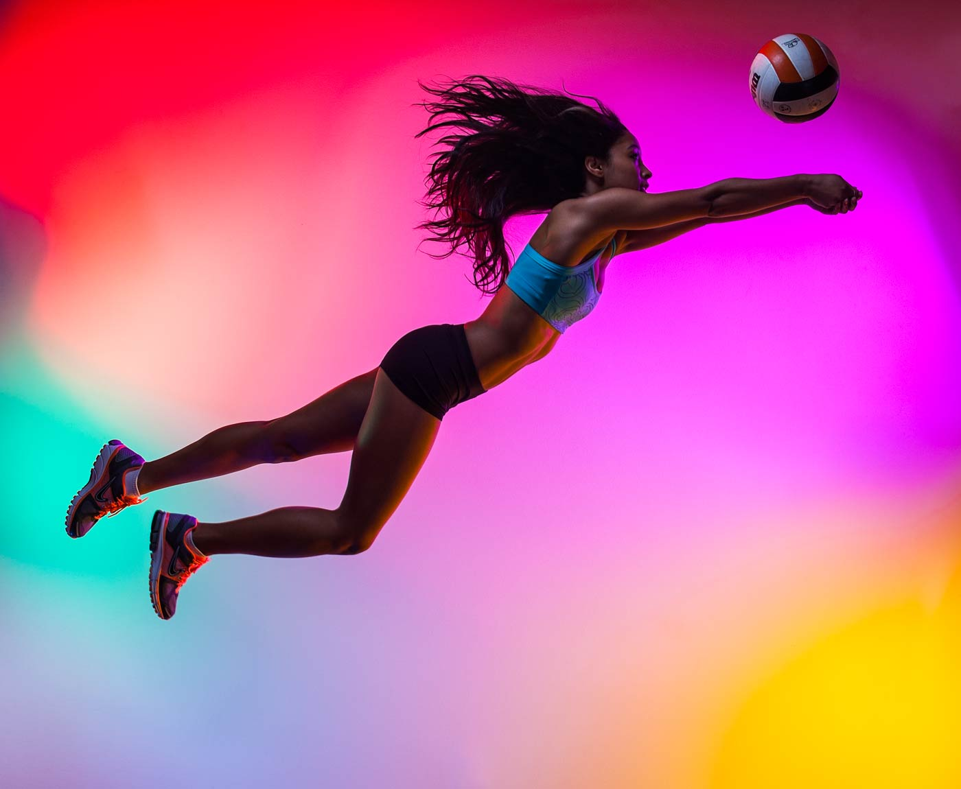 Commercial photographer Portland - athlete jumping for volleyball